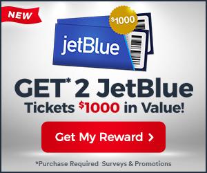 Get 2 Jet Blue Tickets valued $1000!